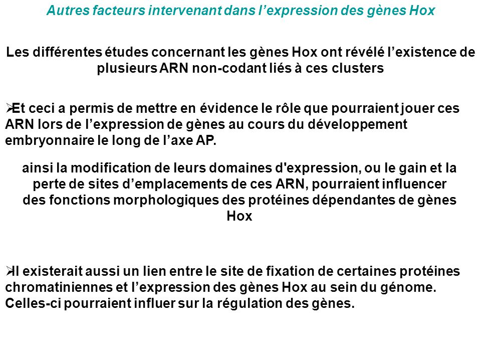 Autres facteurs intervenant dans l'expression des gènes Hox