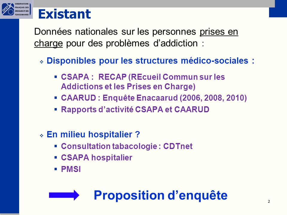 Existant Données nationales sur les personnes prises en charge pour des problèmes d'addiction : Disponibles pour les structures médico-sociales :