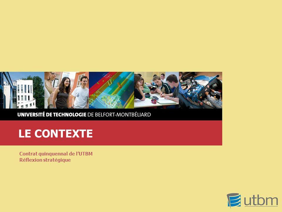 LE CONTEXTE Contrat quinquennal de l'UTBM Réflexion stratégique