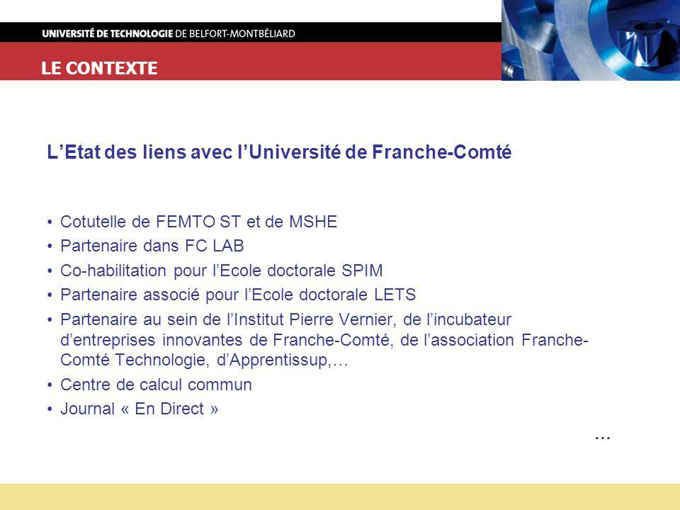 L'Etat des liens avec l'Université de Franche-Comté