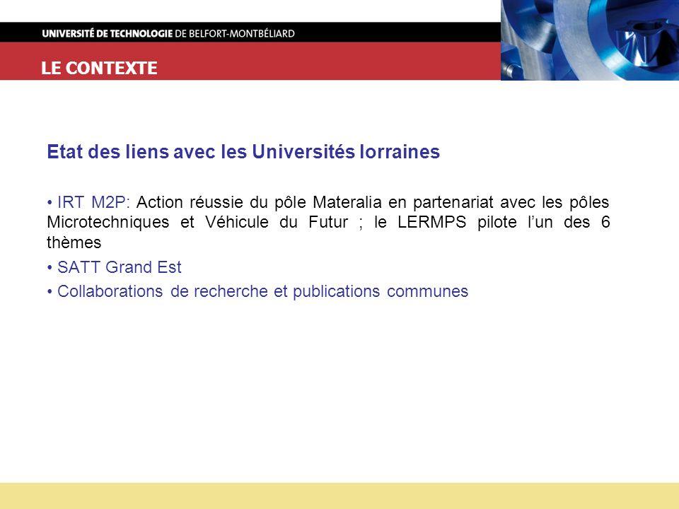 Etat des liens avec les Universités lorraines