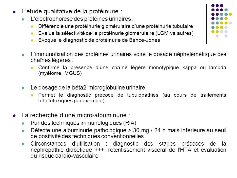 L'étude qualitative de la protéinurie :