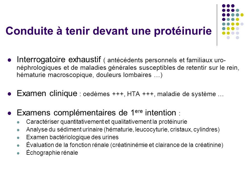 Conduite à tenir devant une protéinurie
