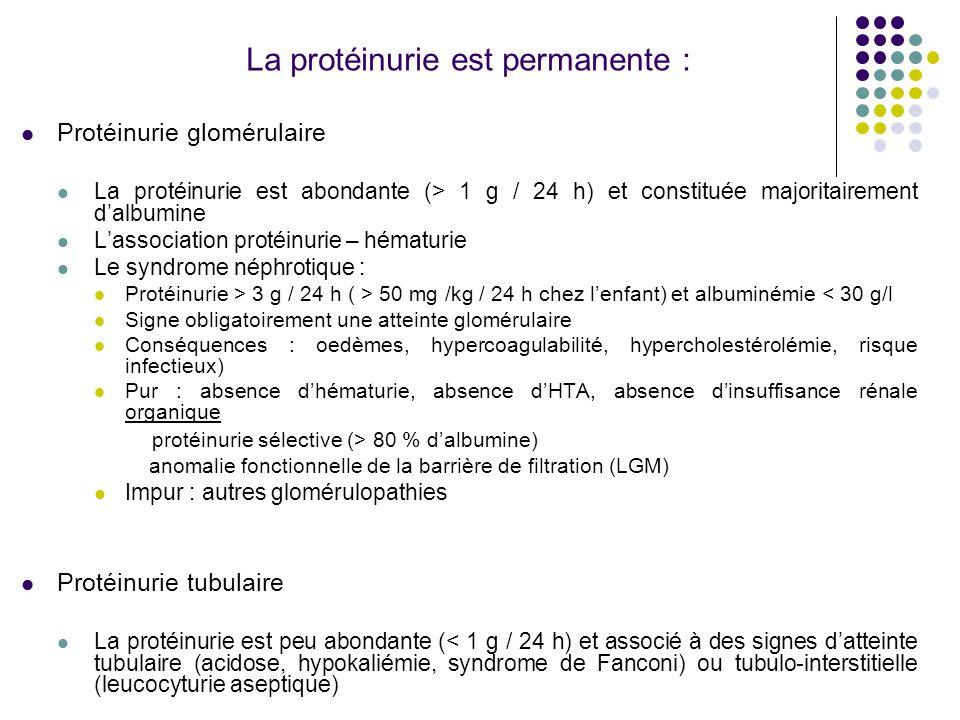 La protéinurie est permanente :