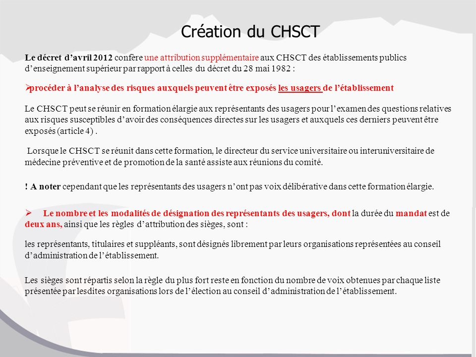 Conseil d administration ppt video online t l charger for Election chsct