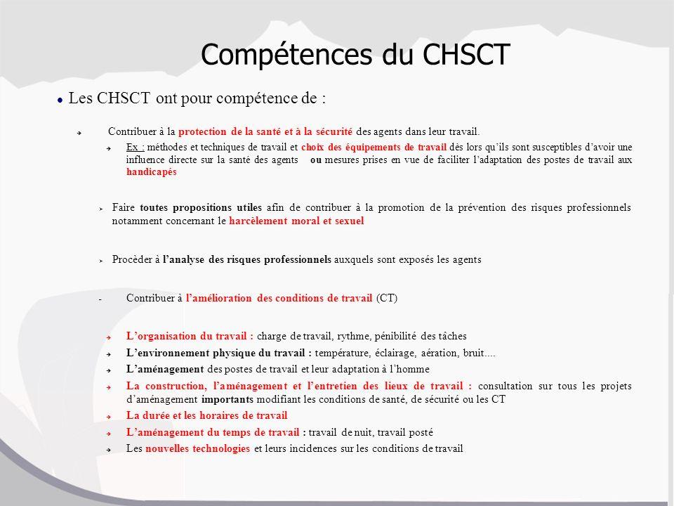 Compétences du CHSCT Les CHSCT ont pour compétence de :