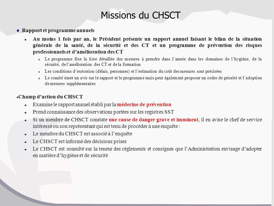 Missions du CHSCT Rapport et programme annuels