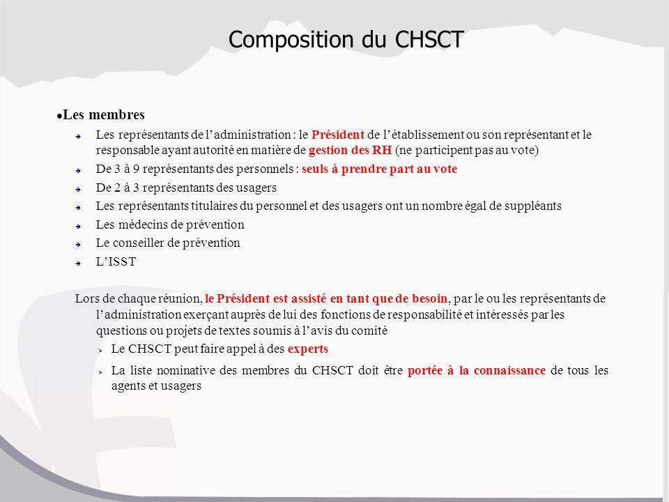 Composition du CHSCT Les membres