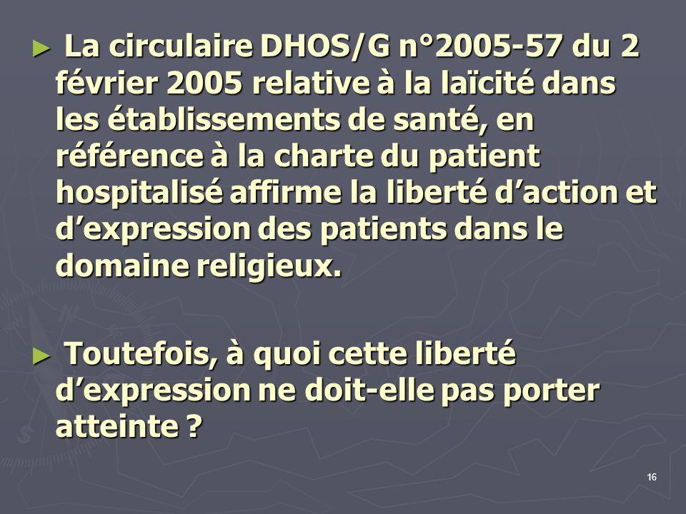 La circulaire DHOS/G n°2005-57 du 2 février 2005 relative à la laïcité dans les établissements de santé, en référence à la charte du patient hospitalisé affirme la liberté d'action et d'expression des patients dans le domaine religieux.