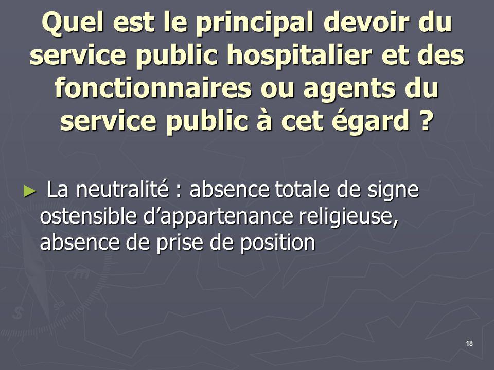 Quel est le principal devoir du service public hospitalier et des fonctionnaires ou agents du service public à cet égard