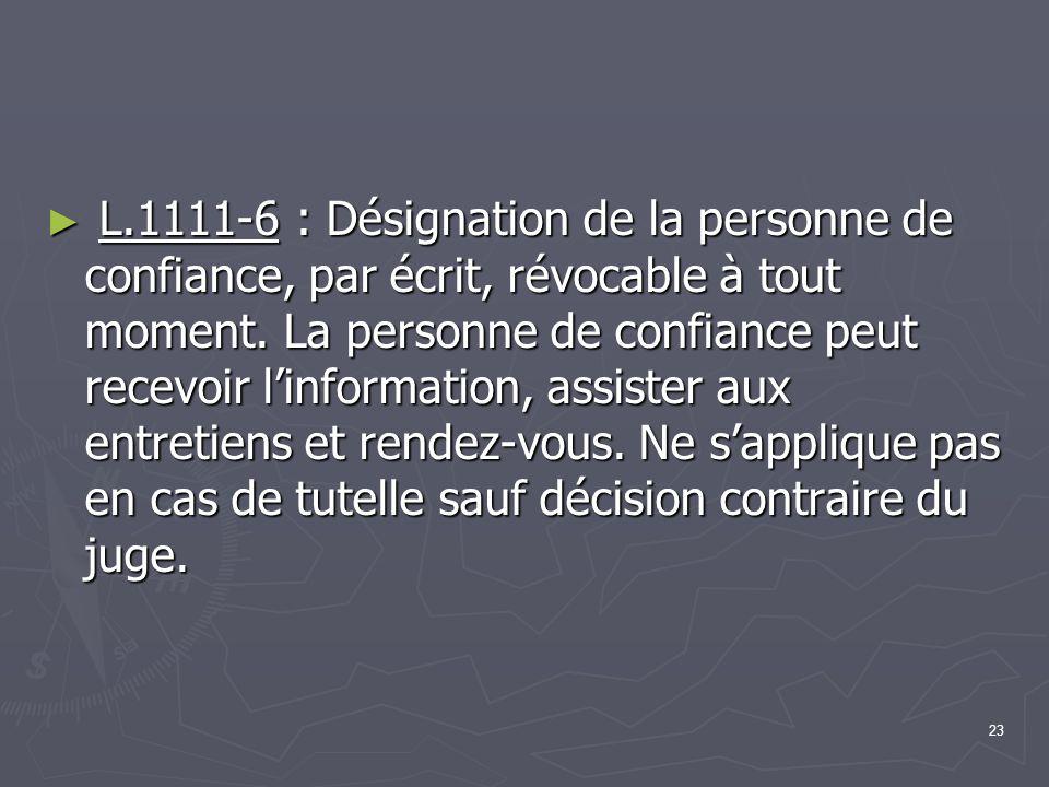 L.1111-6 : Désignation de la personne de confiance, par écrit, révocable à tout moment.