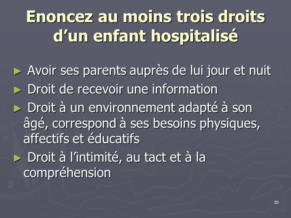Enoncez au moins trois droits d'un enfant hospitalisé
