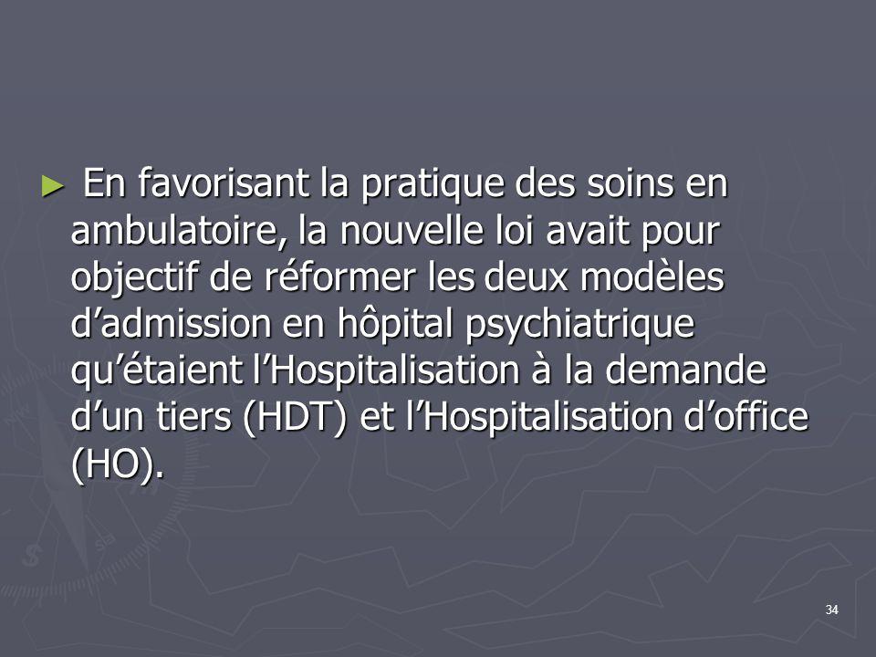 En favorisant la pratique des soins en ambulatoire, la nouvelle loi avait pour objectif de réformer les deux modèles d'admission en hôpital psychiatrique qu'étaient l'Hospitalisation à la demande d'un tiers (HDT) et l'Hospitalisation d'office (HO).