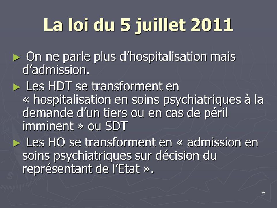 La loi du 5 juillet 2011 On ne parle plus d'hospitalisation mais d'admission.