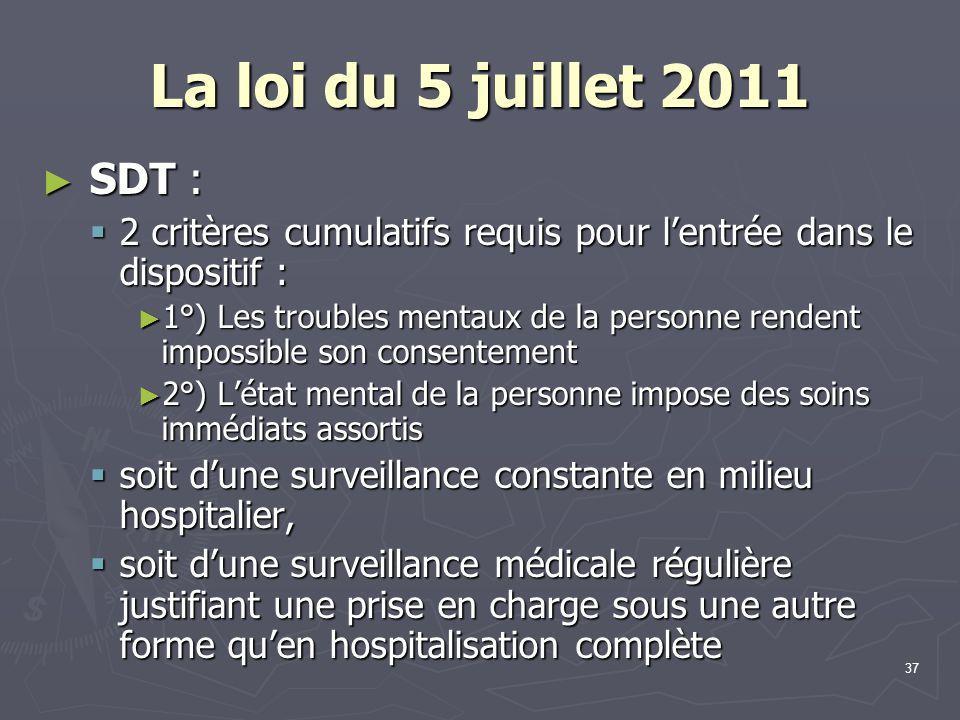 La loi du 5 juillet 2011 SDT : 2 critères cumulatifs requis pour l'entrée dans le dispositif :