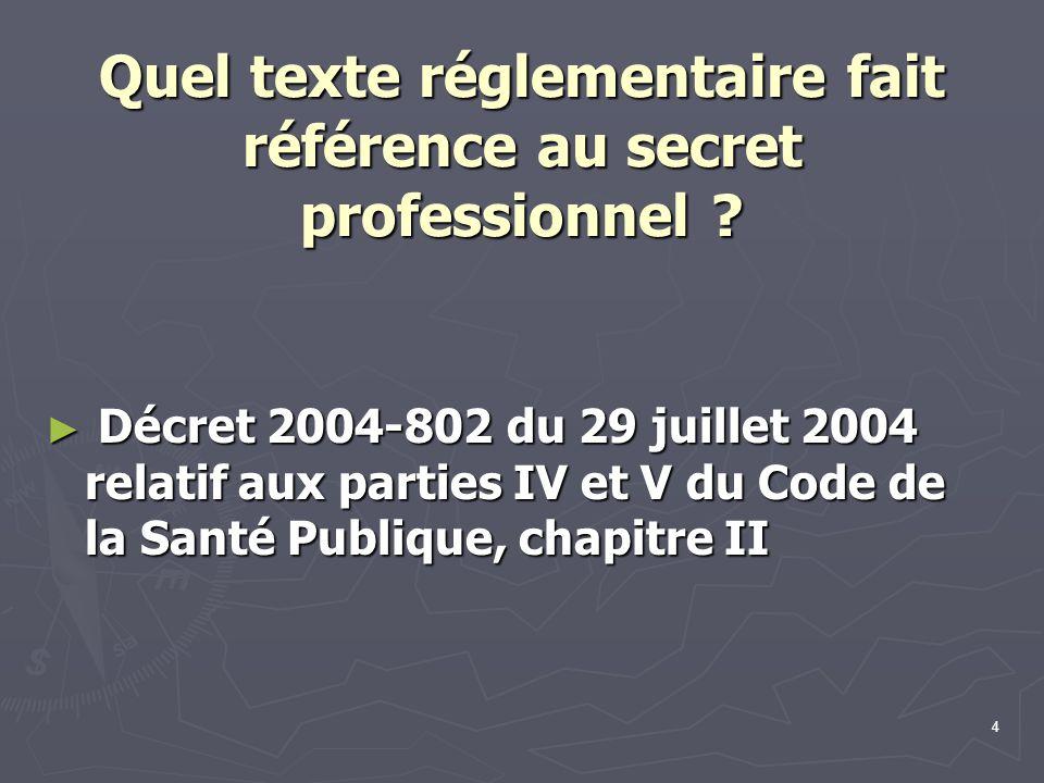 Quel texte réglementaire fait référence au secret professionnel