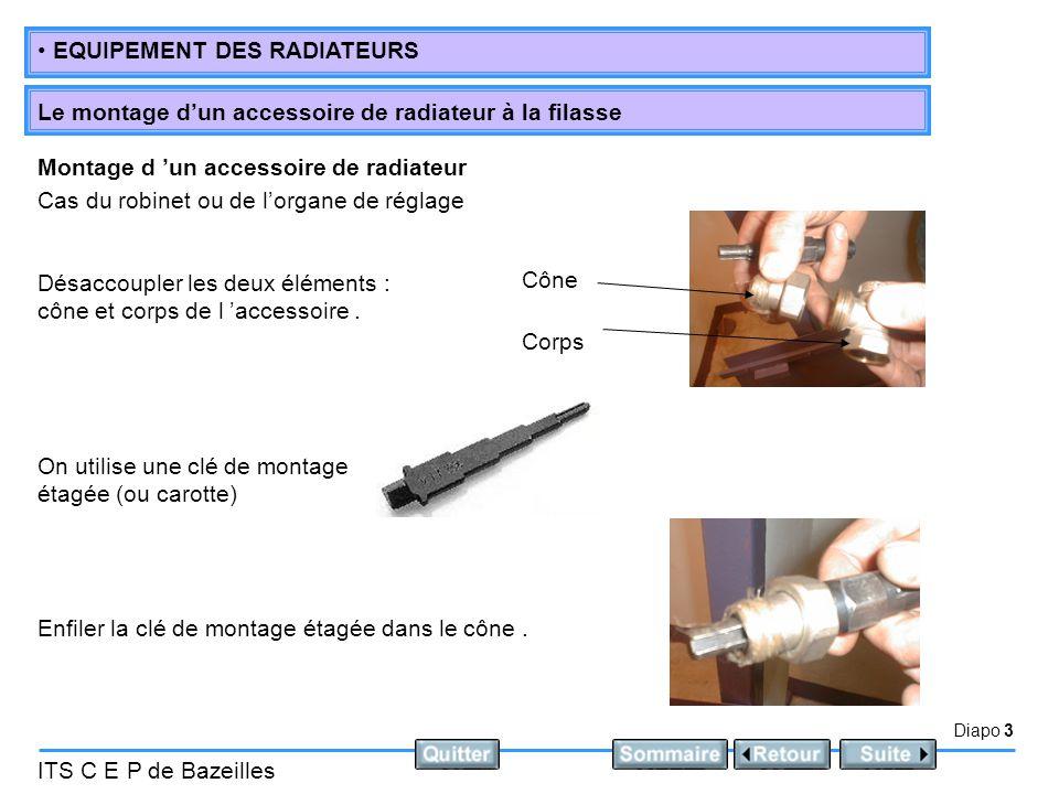 Montage d 'un accessoire de radiateur