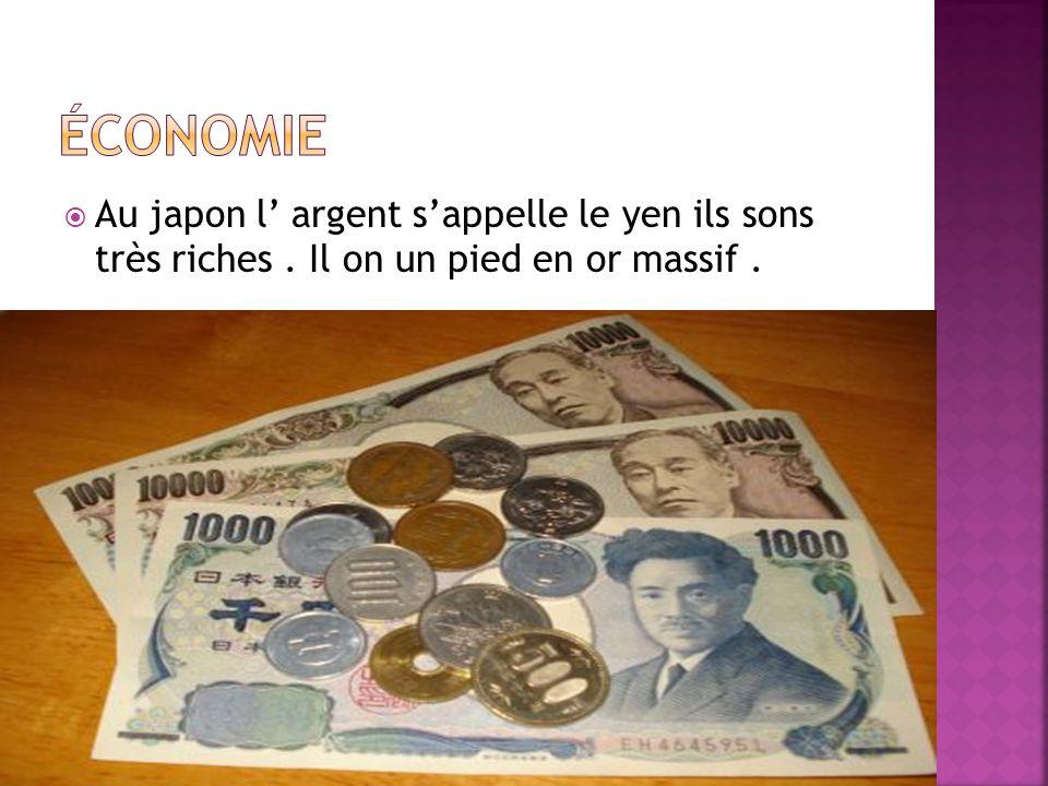 Économie Au japon l' argent s'appelle le yen ils sons très riches . Il on un pied en or massif .