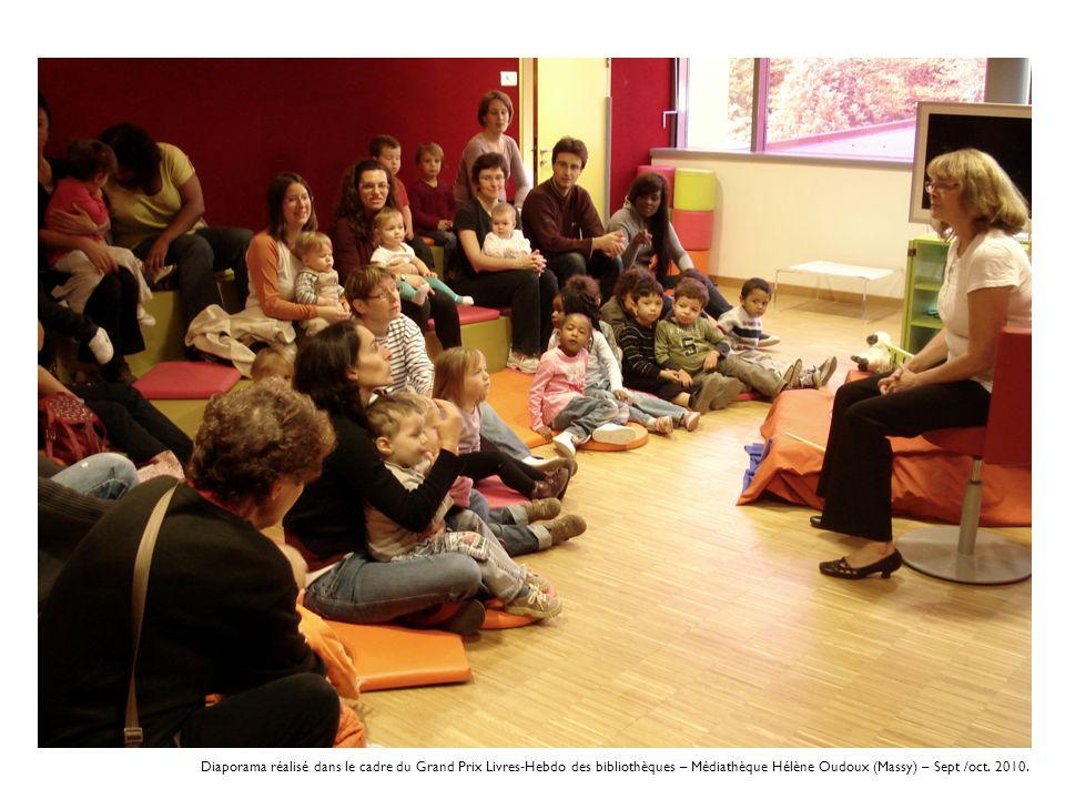 Diaporama réalisé dans le cadre du Grand Prix Livres-Hebdo des bibliothèques – Médiathèque Hélène Oudoux (Massy) – Sept /oct.
