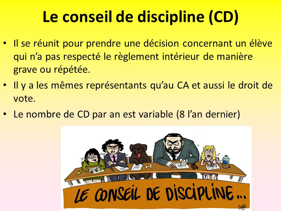 Le conseil de discipline (CD)