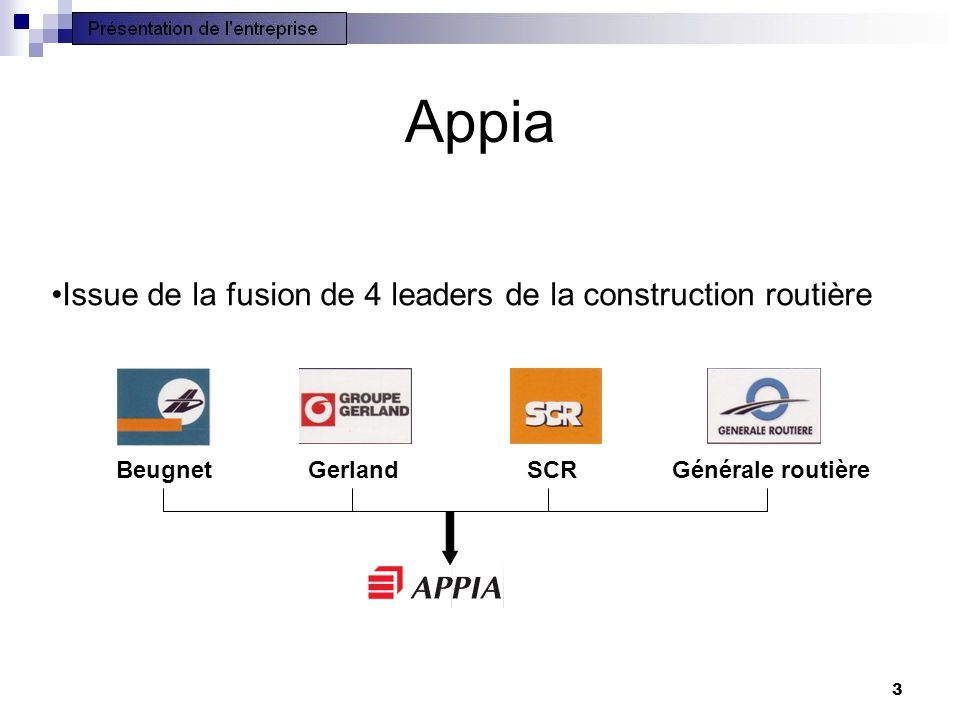 Appia Issue de la fusion de 4 leaders de la construction routière