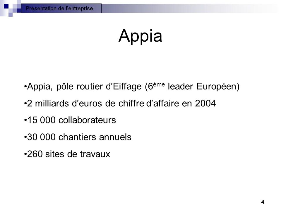Appia Appia, pôle routier d'Eiffage (6ème leader Européen)