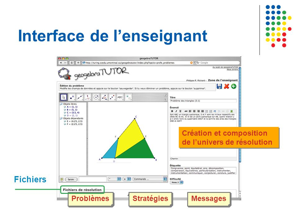 Interface de l'enseignant