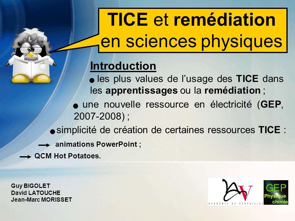 TICE et remédiation en sciences physiques