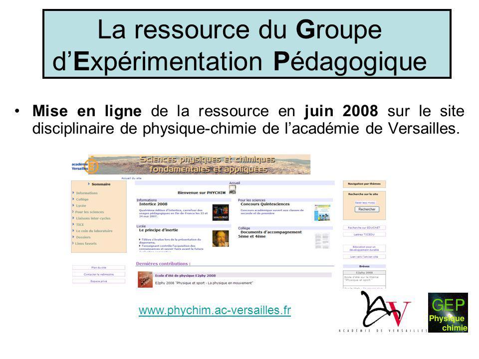 La ressource du Groupe d'Expérimentation Pédagogique