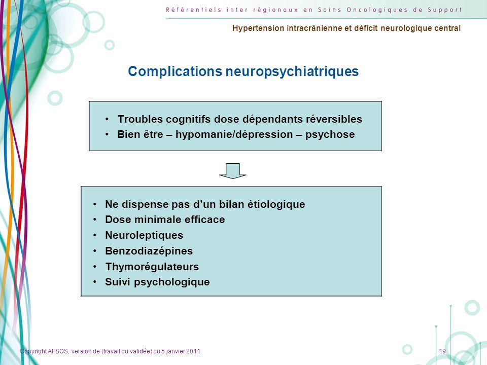 Complications neuropsychiatriques