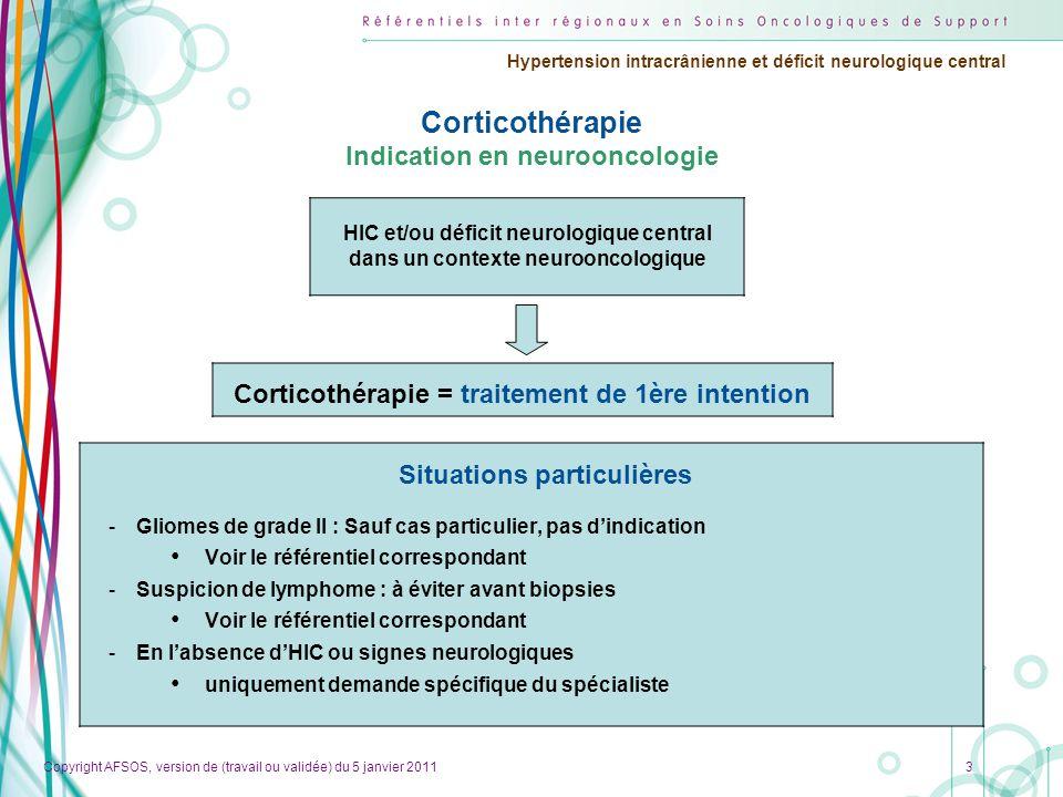 Corticothérapie Indication en neurooncologie