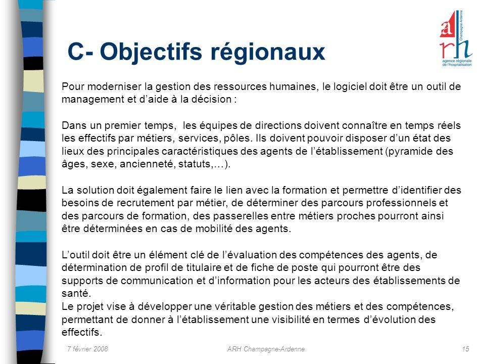 C- Objectifs régionaux