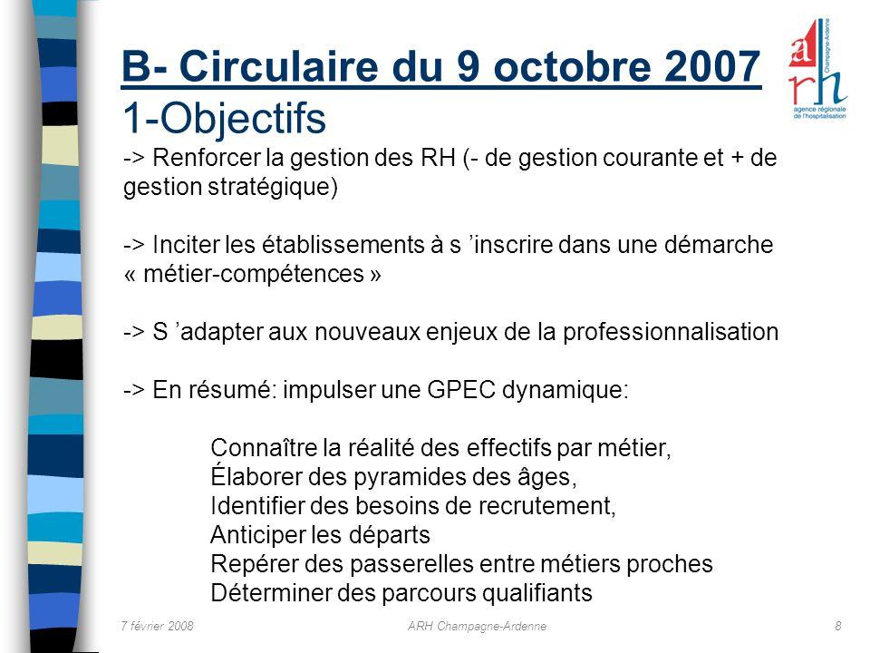B- Circulaire du 9 octobre 2007 1-Objectifs