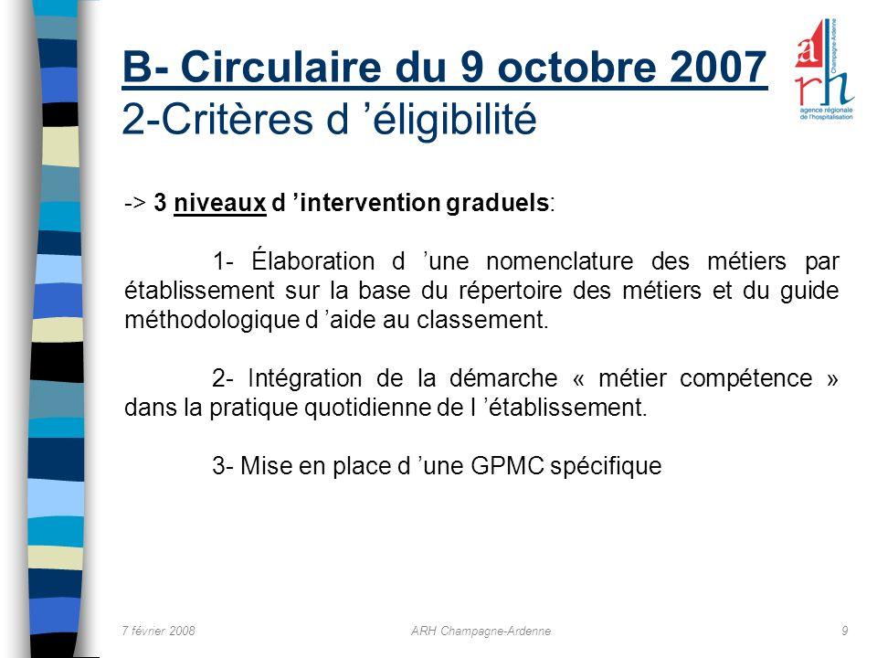 B- Circulaire du 9 octobre 2007 2-Critères d 'éligibilité