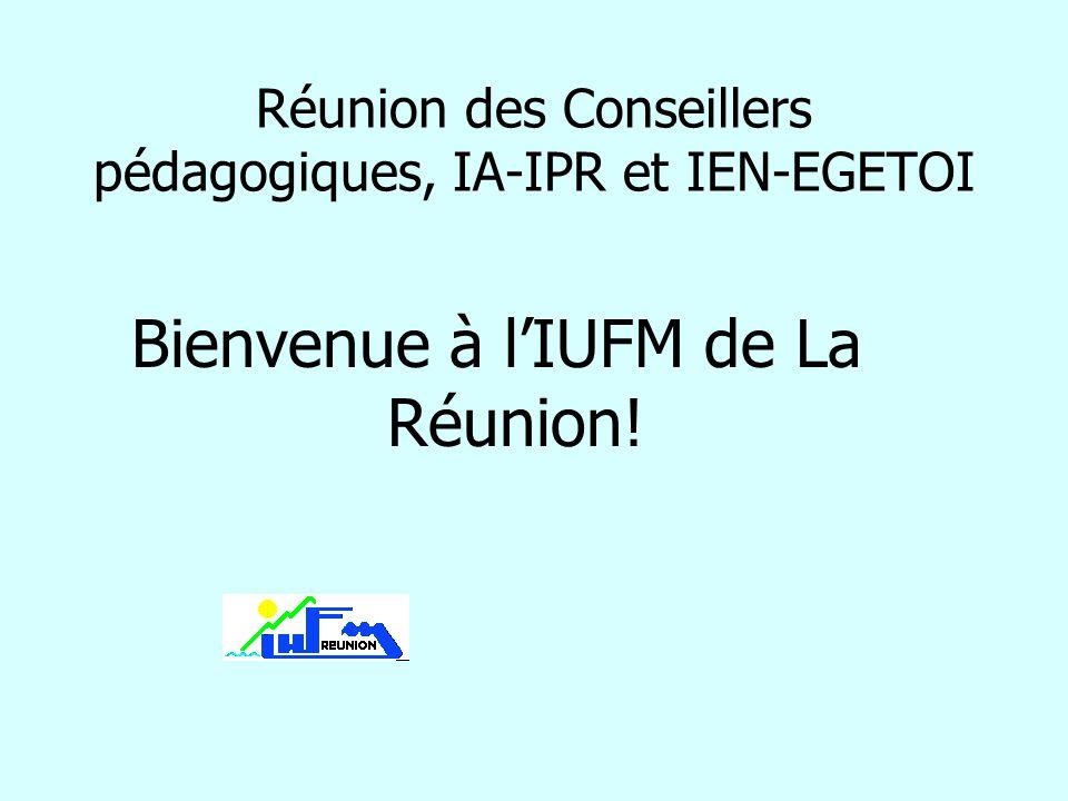 Réunion des Conseillers pédagogiques, IA-IPR et IEN-EGETOI