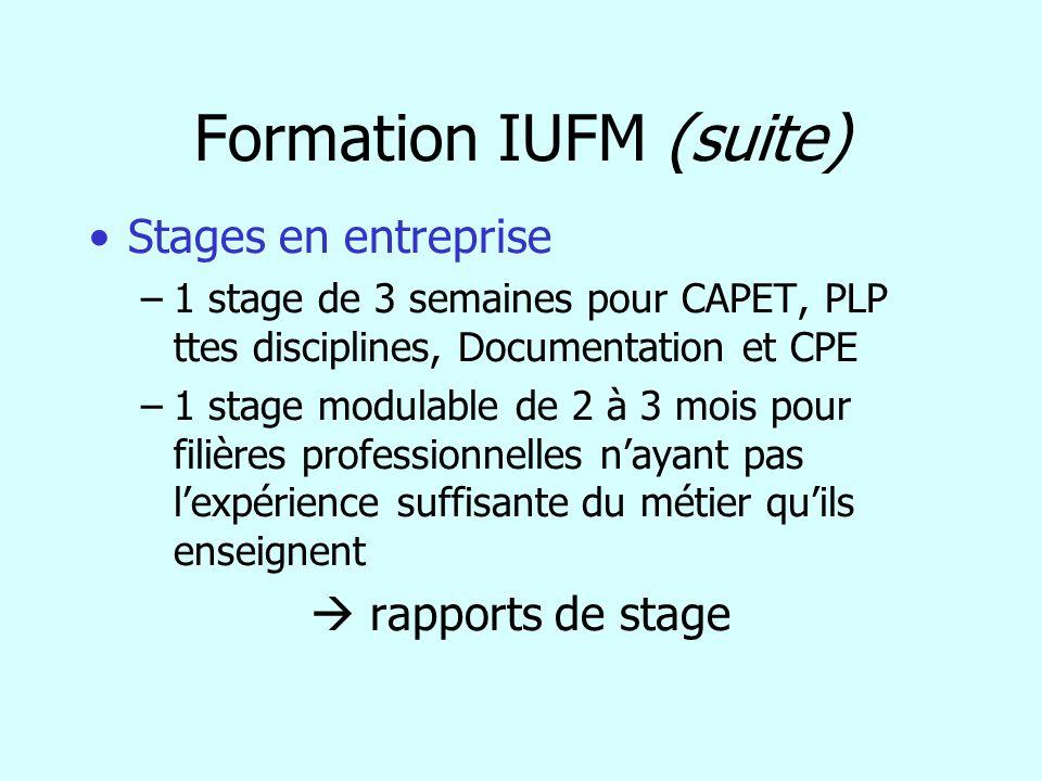 Formation IUFM (suite)