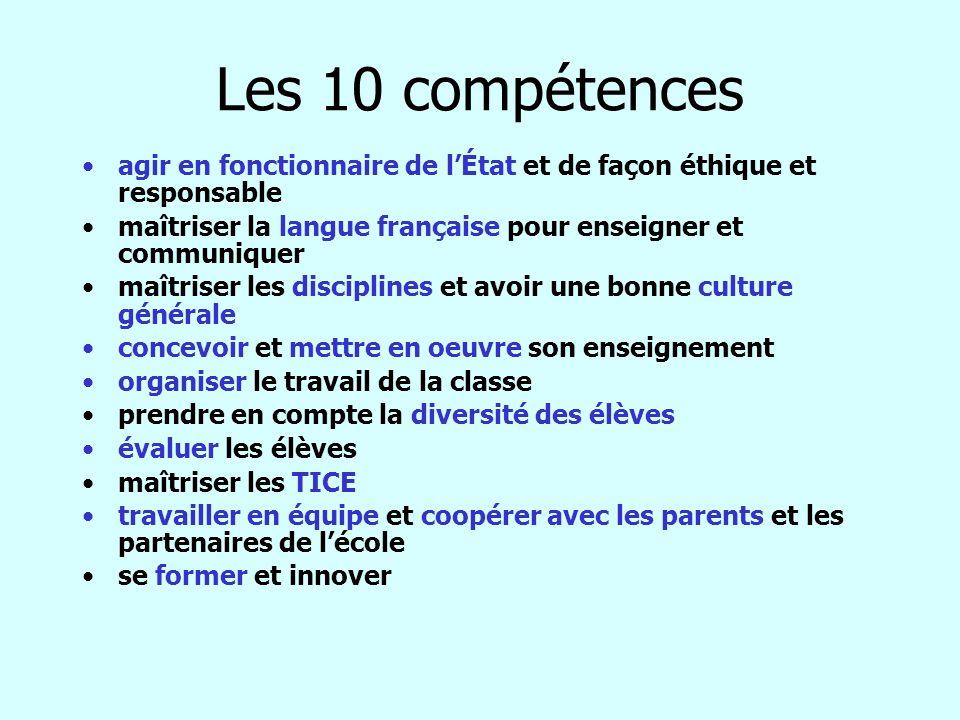 Les 10 compétences agir en fonctionnaire de l'État et de façon éthique et responsable. maîtriser la langue française pour enseigner et communiquer.