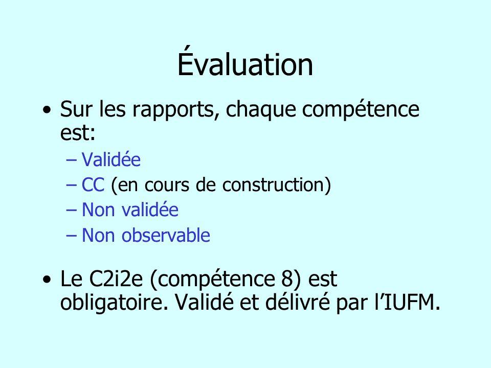 Évaluation Sur les rapports, chaque compétence est: