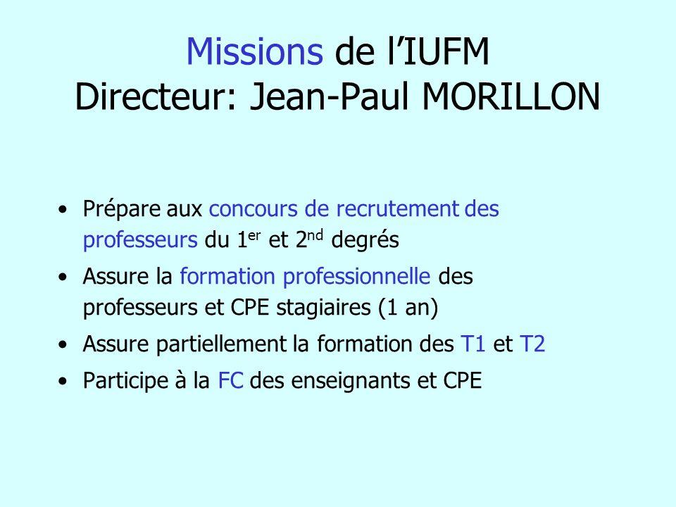 Missions de l'IUFM Directeur: Jean-Paul MORILLON