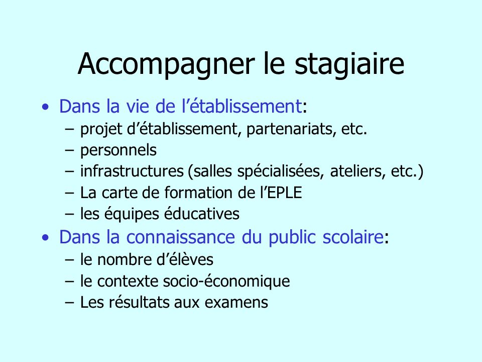 Accompagner le stagiaire