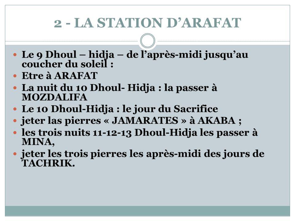 2 - LA STATION D'ARAFAT Le 9 Dhoul – hidja – de l'après-midi jusqu'au coucher du soleil : Etre à ARAFAT.