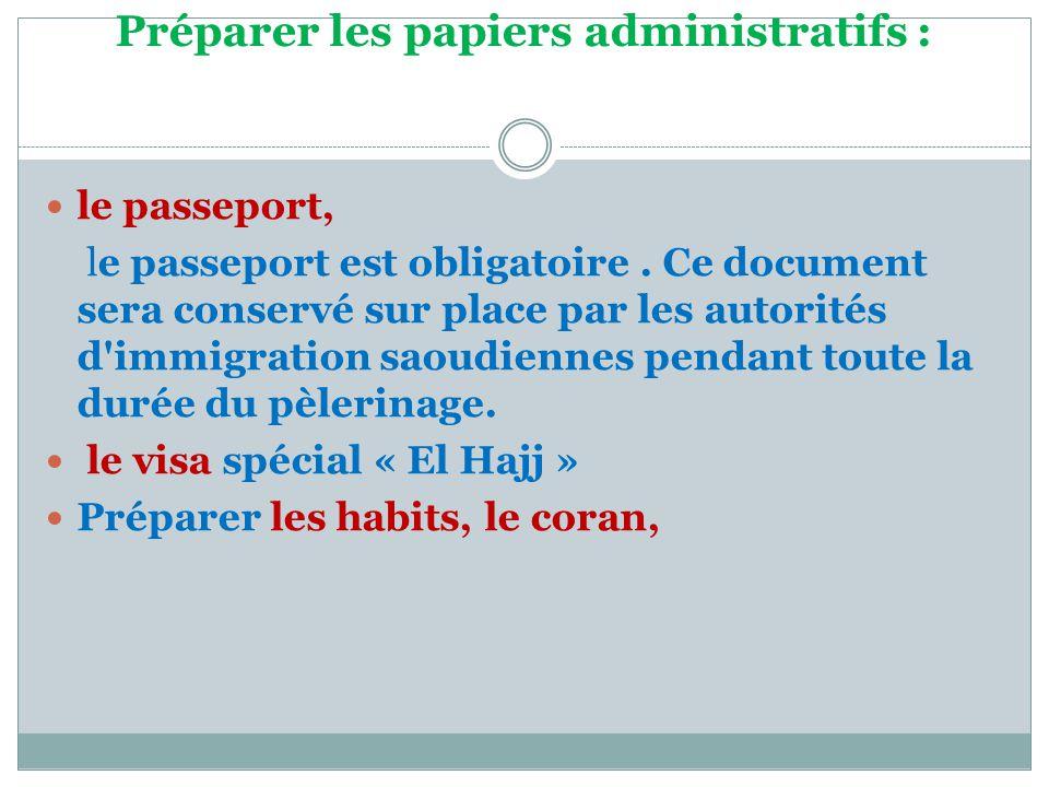 Préparer les papiers administratifs :