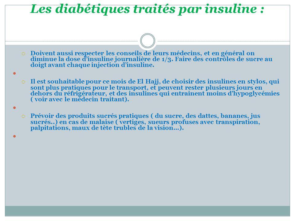 Les diabétiques traités par insuline :