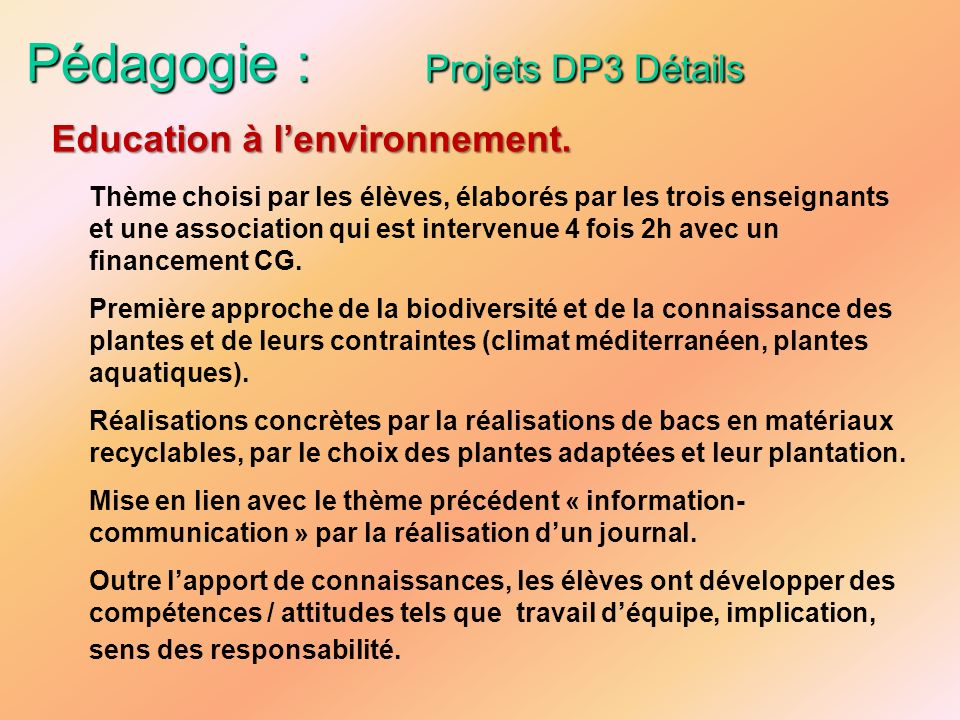 Pédagogie : Projets DP3 Détails