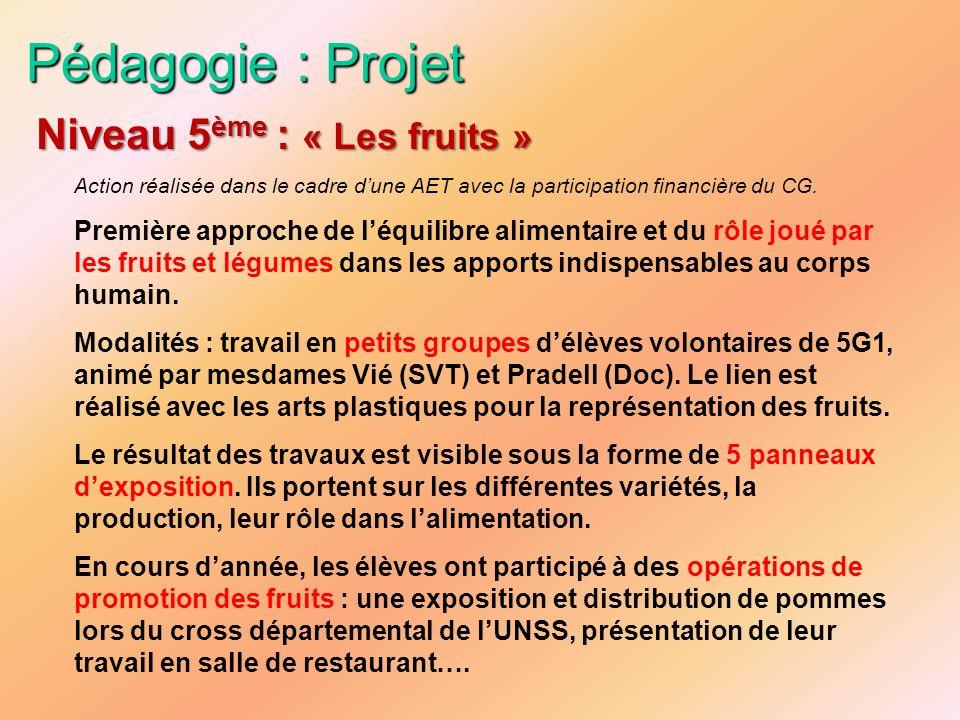 Pédagogie : Projet Niveau 5ème : « Les fruits »