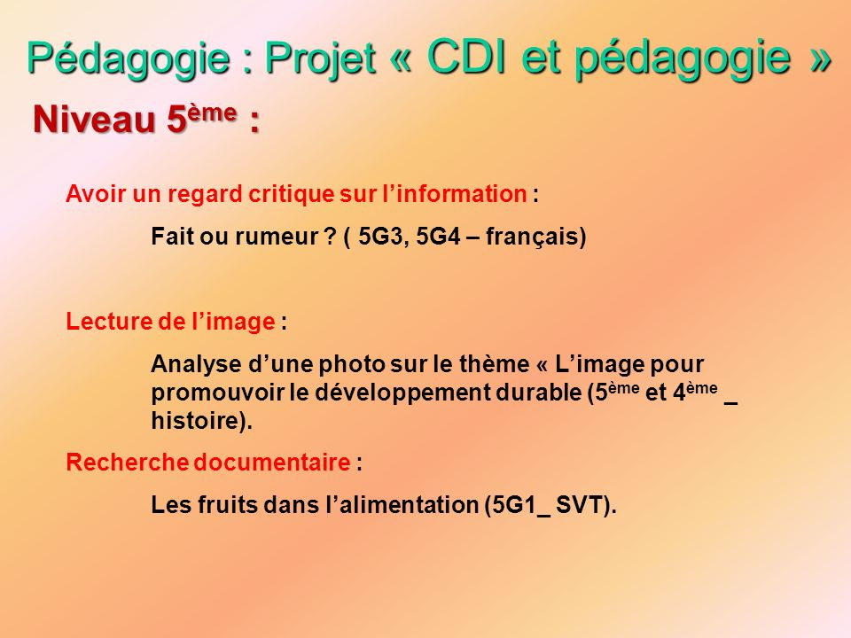 Pédagogie : Projet « CDI et pédagogie »