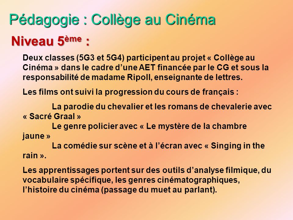 Pédagogie : Collège au Cinéma