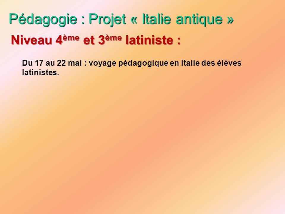Pédagogie : Projet « Italie antique »