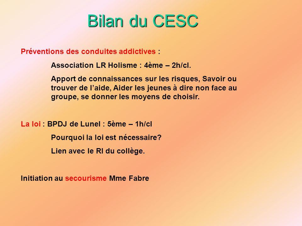 Bilan du CESC Préventions des conduites addictives :