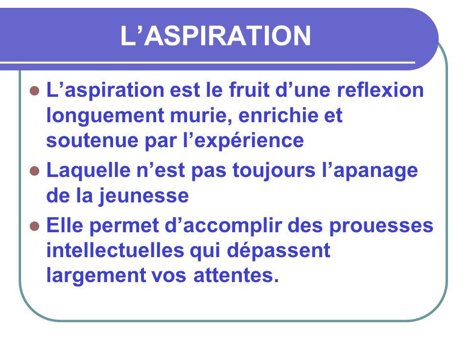 L'ASPIRATION L'aspiration est le fruit d'une reflexion longuement murie, enrichie et soutenue par l'expérience.